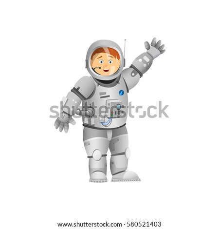 Astronaut rejoices. Astronaut with his hand raised. Vector illustration.