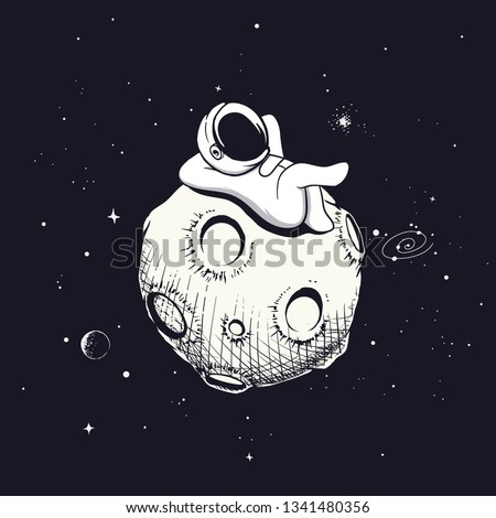 astronaut relax on the moon. The spaceman decided to rest.Space vector illustration