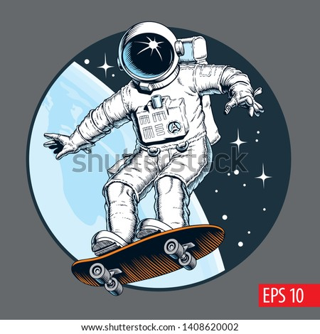 Astronaut rides on skateboard through the space. Vector illustration.