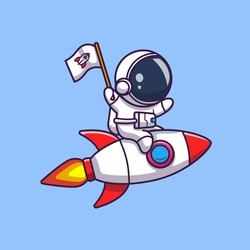 Astronaut Riding On Rocket Vector Icon Illustration. Spaceman Mascot Cartoon Character. Science Icon Concept Isolated. Flat Cartoon Style Suitable for Web Landing Page, Banner, Flyer, Sticker, Card