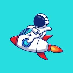 Astronaut Riding Rocket Cartoon Vector Icon Illustration. Space Technology Icon Concept Isolated Premium Vector. Flat Cartoon Style