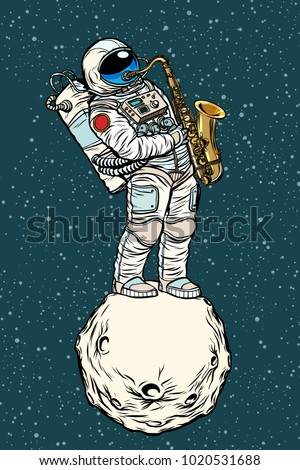 astronaut saxophonist plays jazz in space, saxophone musical instrument. Pop art retro vector illustration hand drawn comic cartoon