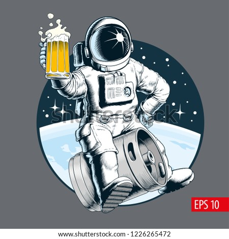 astronaut sits on a beer keg