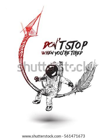 astronaut sitting on the arrow