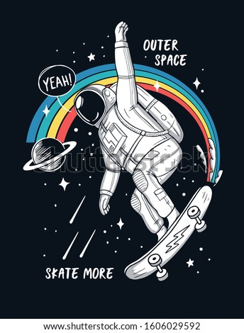 Astronaut skateboarding in space. Vector illustrations for t-shirt prints, posters and other uses.
