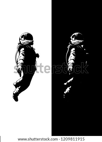 Astronaut sketch in illustrator vector art. Spaceman. Black white sketch