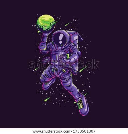 astronaut slamdunk illustration