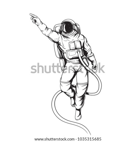 astronaut soaring in space comic style illustration