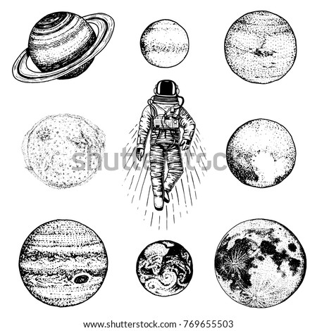 astronaut spaceman planets in