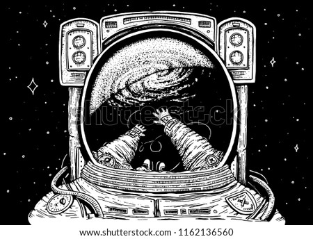 Stock Photo Astronaut spaceman soaring. astronomical galaxy space. Funny cosmonaut explore adventure and is reflected in the spacesuit. engraved hand drawn sketch. planets in solar system. background for website.