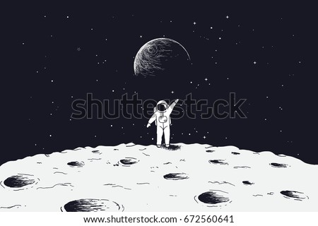astronaut stand on surface of