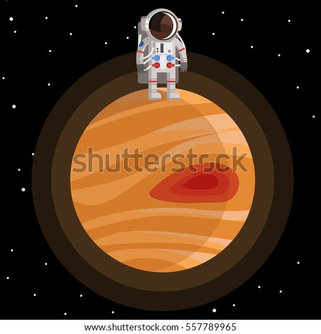 astronaut standing on jupiter