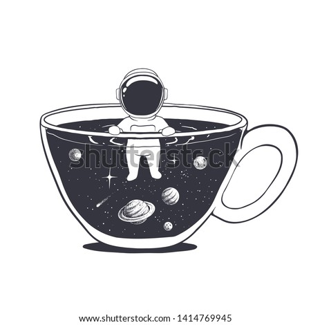 astronaut swims in a cup with space. Hand drawn style. Vector illustration