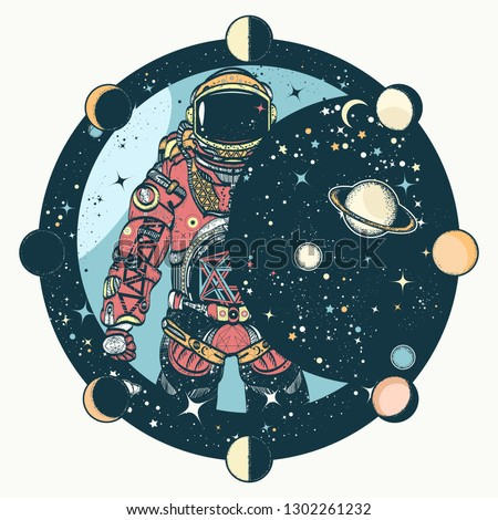 Astronaut tattoo and t-shirt design. Cosmonaut in universe, solar eclipse. Spaceman. Symbol of science, astronomy, education