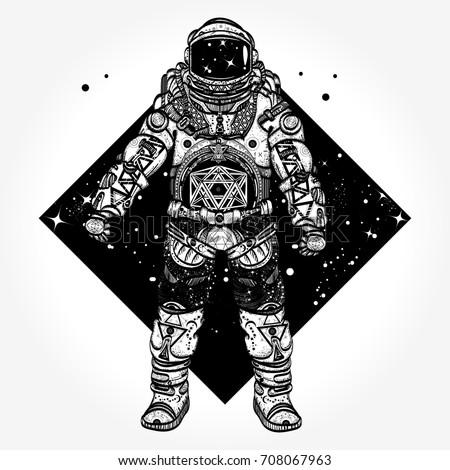 Astronaut tattoo. Cosmonaut in deep space triangular style t-shirt design