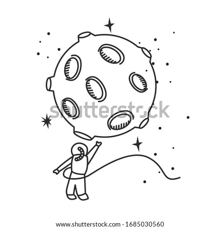 astronaut touching moon in the