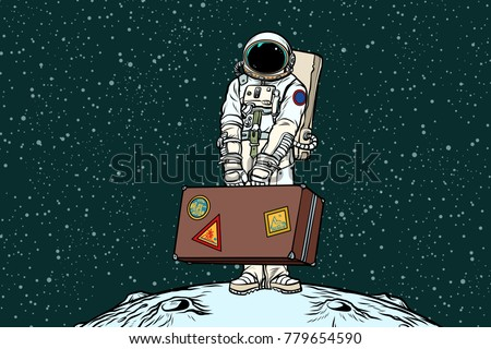 astronaut traveler with travel