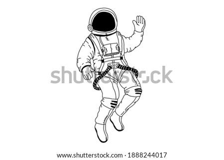 Astronaut vector illustration. Hand drawn spaceman for t-shirt print design. Astronaut in spacesuit, Hand Drawn Sketch Design illustration.