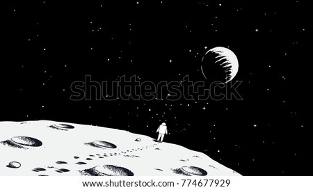 astronaut walking on moonearth