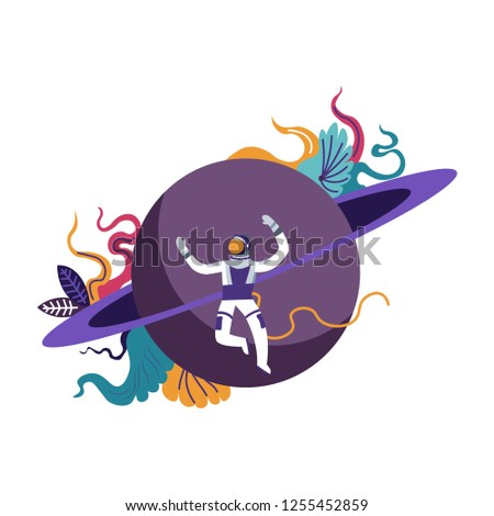 Astronaut wearing special costume exploring outer space human in cosmos vector floating man by jupiter planet futuristic travels and scientific explorations interstellar discovery of new form.