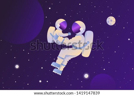 Astronaut with a child in space. Space tourist. Vector background. EPS 10.