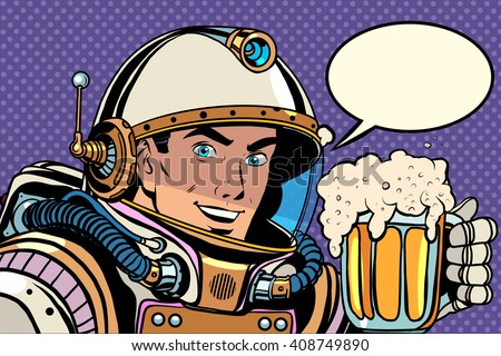astronaut with a mug of foaming