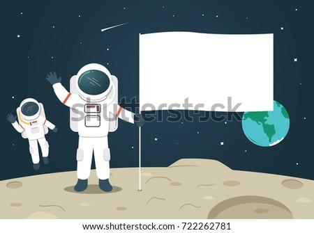 astronaut with blank flag