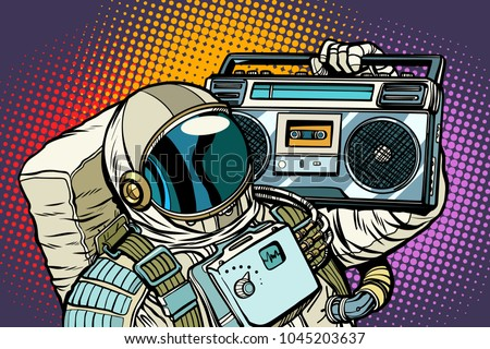 astronaut with boombox  audio