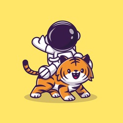 Astronaut With Cute Tiger Cartoon Vector Icon Illustration. Science Technology Icon Concept Isolated Premium Vector. Flat Cartoon Style