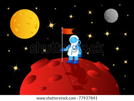 Astronaut with flag on another planet, vector illustration