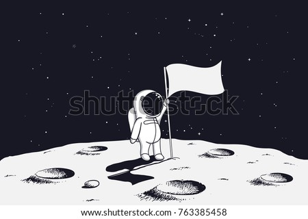 astronaut with flag stands on