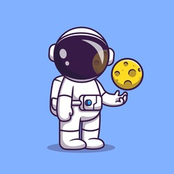Astronaut With Moon Ball Cartoon Vector Icon Illustration. Science Fiction Icon Concept Isolated Premium Vector. Flat Cartoon Style