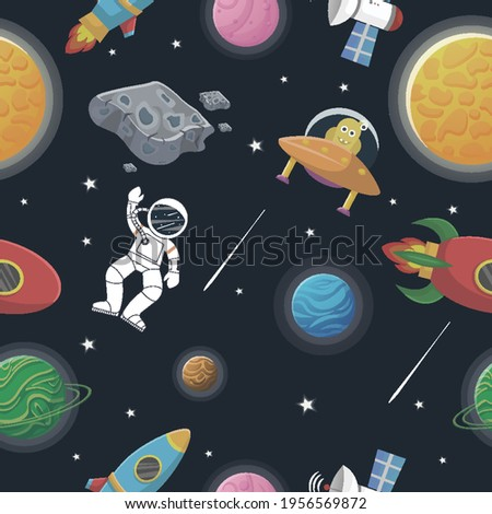 Space Kawaii Cute Planet Rocket Stars Rainbow Neon Seamless Pattern  Fabric Design  Surface Pattern  Digital Paper  Digital Pattern