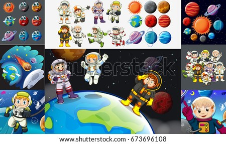 Astronauts and planets in solar system illustration