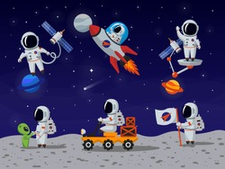 Astronauts characters set in flat cartoon style. Person, human spaceman. Vector illustration