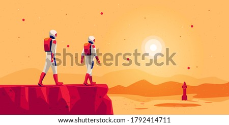 Astronauts explorers walking on mars surface ground mountain landscape with space starship rocket vehicle on launchpad. Future red planet colonisation exploration mission. Starman building colony. Foto stock ©