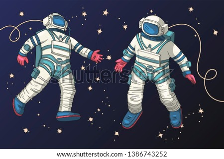 astronauts fly in outer space