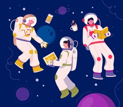 Astronauts flying in space. Cosmonauts in orbit daily routine - working on laptop or smartphone, reading book, drinking coffee. Planets and stars landscape on background. Vector character illustration