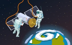 Astronauts in open space isometric composition with cartoon style terrestrial sphere and two spacemen in  armour vector illustration