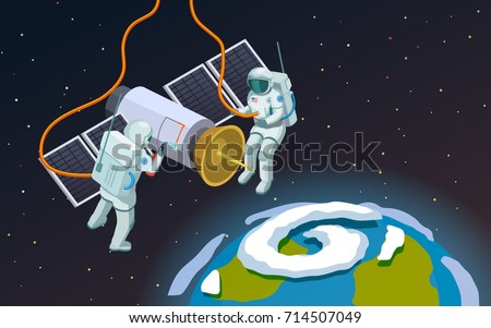astronauts in open space