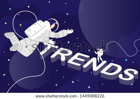 Astronauts in space finding trends. Chasing trends concept vector illustration. Searching trends like space man in universe.