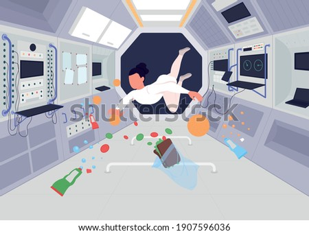 Astronauts inside space station flat color vector illustration. Person flying in zero gravitation with lotws of different food 2D cartoon characters with special devices on rocket on background Foto stock ©