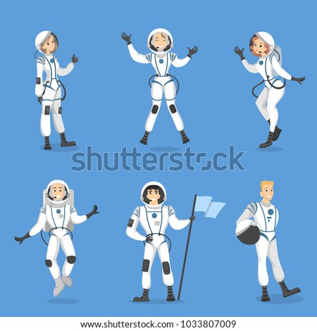 Astronauts people set. Men and women in costumes.