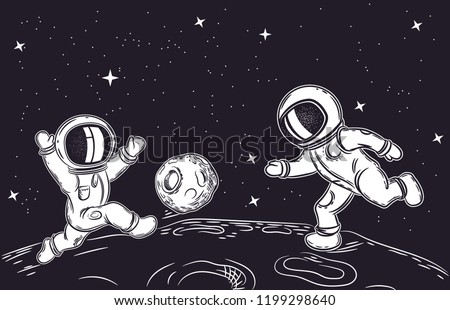 Astronauts playing football. Vector illustration on the theme of astronomy