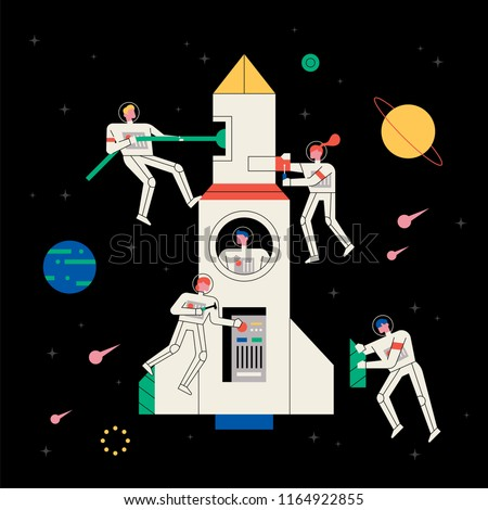 Astronauts repairing spacecraft in space. flat design style vector graphic illustration set