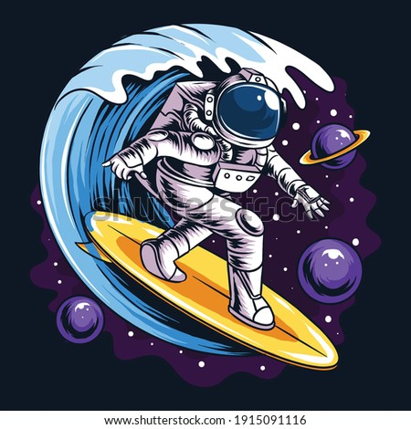 astronauts surf on a surfboard in space with stars, planets and ocean waves artwork vector