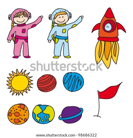 astronauts with planets isolated, drawing. vector illustration