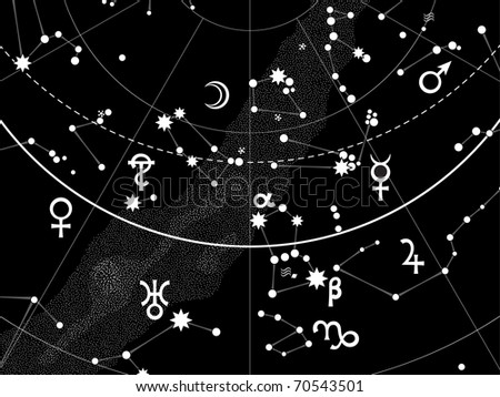 Astronomical Celestial Atlas of Night Star Heaven with Planets (EPS-8)