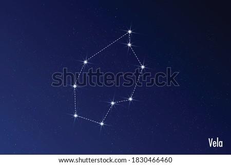 Astronomical vector illustration of Vela constellation.  Foto stock ©
