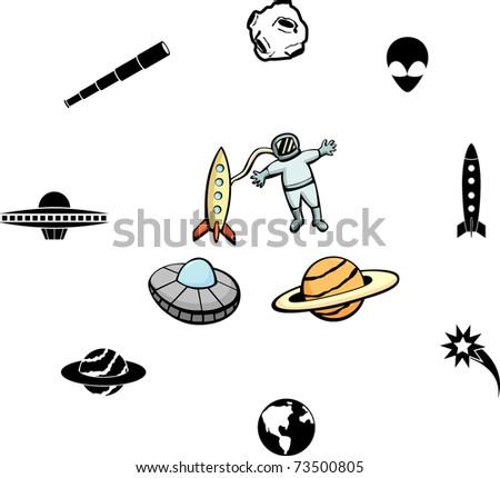 astronomy and astronautics illustrations and symbols set